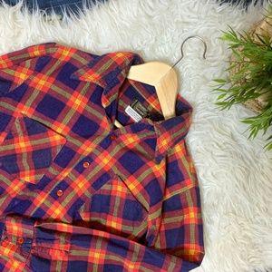 Vintage Plaid 80s Button Down Shirt